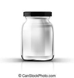 schroefsluiting, pot, glas, transparant, lege