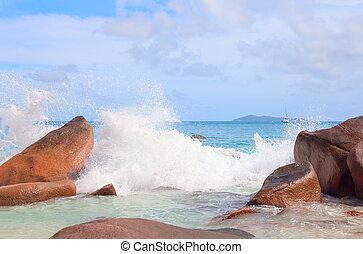schuim, zee, golven