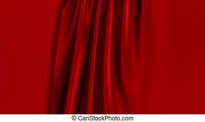 screen., opening., gordijnen, rood groen