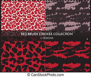seamless, borstel, rode slagen, verzameling, model