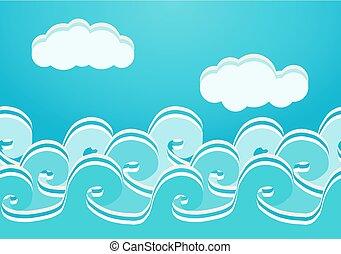 seamless, illustratie, vector, model, zee, golven