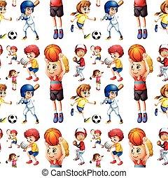 seamless, kinderen spelende, sporten