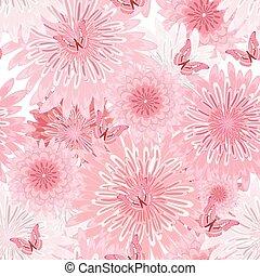 seamless, textuur, flowers., zich verbeelden, floral, delicaat