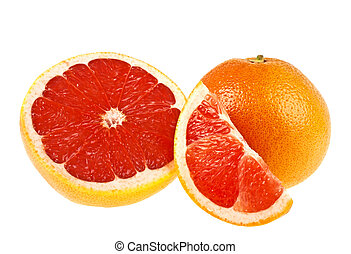 segmenten, grapefruit, witte achtergrond