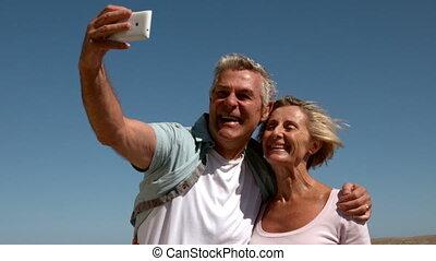 senior, boeiend, paar, selfie