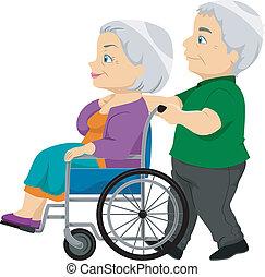 senior, dame, wheelchair, oud, paar