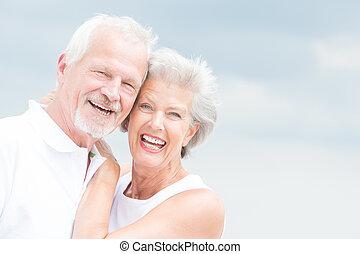 senior, het glimlachen, paar