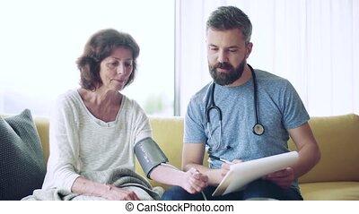 senior, thuis, bezoeker, gezondheid, vrouw, visit., gedurende