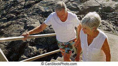 senior, wandelende, paar, boven, strand, 4k
