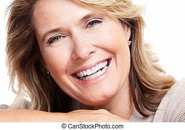 senior, woman., vrolijke