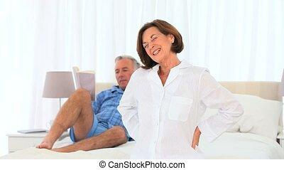 senior, zijn, vrouw, geven, man, masseren