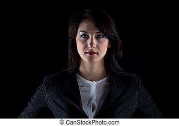 serieuze , vrouw, brunette, portrait business
