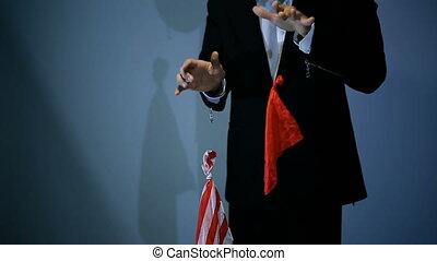 servet, vliegen, truc, achtergrond., black , tovenaar, rood, optredens