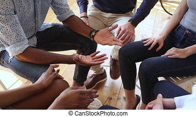 sessie, groep, klesten, therapie, anders, op, mensen, afsluiten, concept