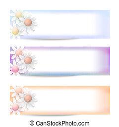 set, abstract, drie, vector, bloemen, spandoek