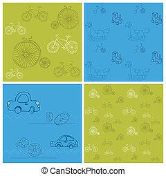 set, -, achtergronden, seamless, fietsen, ontwerp, auto's, plakboek