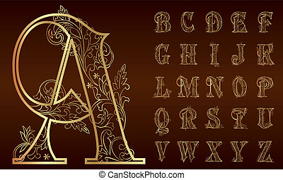 set, alfabet, ouderwetse , floral