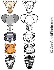 set, animals., vector, wild, dierentuin, of