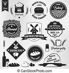set, bakkerij, etiketten, ouderwetse , brood