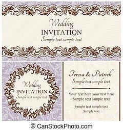 set, barok, trouwfeest, beige, uitnodiging