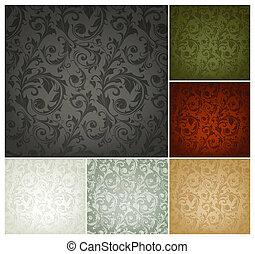 set, behang, seamless, model, kleuren, zes