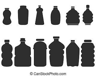 set, black , fles, plastic