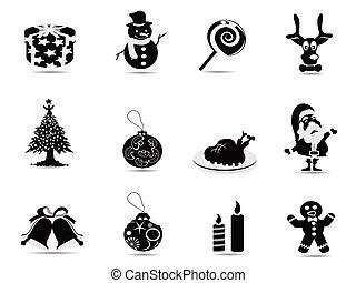 set, black , kerstmis, pictogram