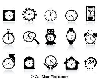 set, black , klok, pictogram