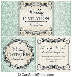 set, blauwe , barok, huwelijk uitnodiging