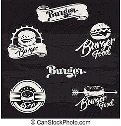 set, burgers, logo, collection., hand, hamburger, retro, ouderwetse , getrokken, style., logotypes