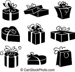 set, cadeau, iconen, dozen, black , illustraties, witte