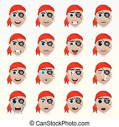 set, character., icons., gevarieerd, emoties, avatar