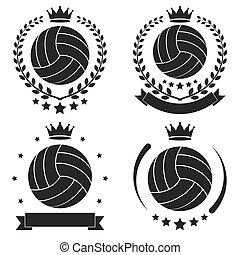 set, club, ouderwetse , volleybal, etiket, badge