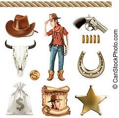set, cowboy, karakter, adventure., vector, westelijk, objects., 3d, spotprent, pictogram