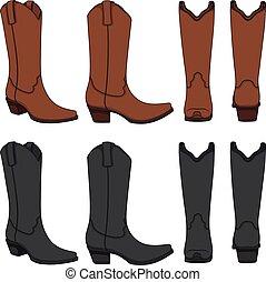 set, cowboy, kleur, boots., vrijstaand, vector, illustraties, objects.