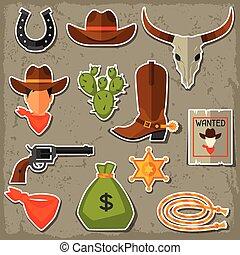 set, cowboy, west, voorwerpen, wild, stickers