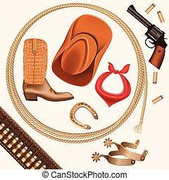 set, cowboy, west, vrijstaand, voorwerpen, wild, witte
