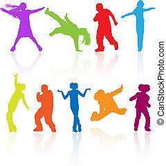 set, dancing, gekleurde, weerspiegeling., tieners, springt, silhouettes, vector, het poseren
