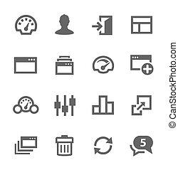 set., dashboard, iconen