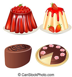 set, dessert, gelei, aardbeien, kers koek