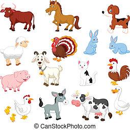 set, dier, verzameling, boerderij