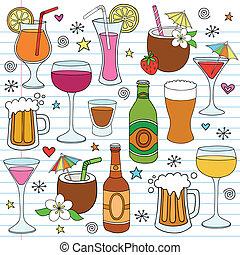 set, doodle, bier, vector, wijntje, dranken