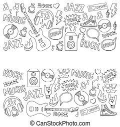 set, doodle, hand, vector, muziek, getrokken, communie