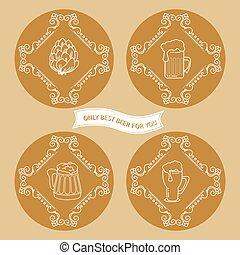 set, eenvoudig, ouderwetse , bier, logo, style.