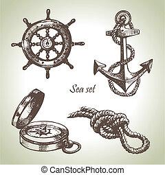 set, elements., hand, ontwerp, zee, nautisch, illustraties, getrokken