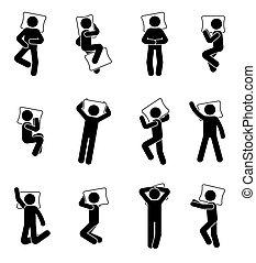 set, figuur, slapende, stok, pictogram, man