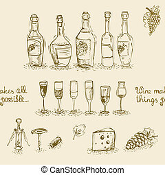 set, flessen, bril, wijntje