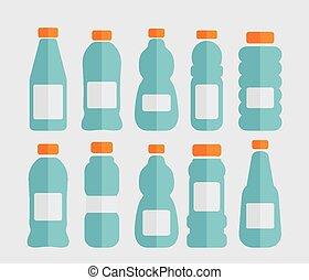 set, flessen, plastic