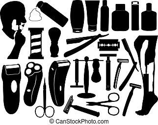 set, gereedschap, het scheren