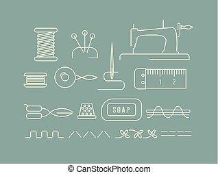 set, gereedschap, naaiwerk, iconen